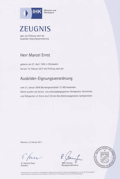IHK Ausbilder-Eignungsverordnung für Marcel Ernst, G. Ernst Fensterbau