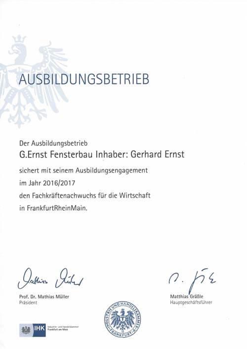 Der Ausbildungsbetrieb G. Ernst Fensterbau