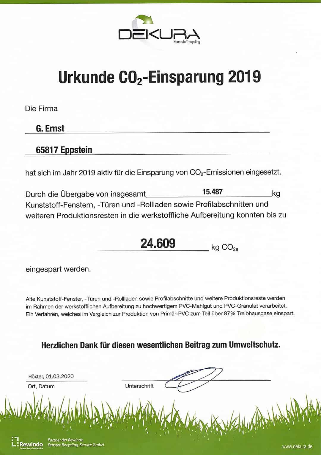 Urkunde zur CO2-Einsparung 2019, G. Ernst Fensterbau