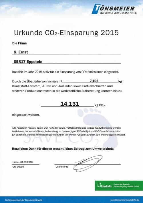 Urkunde zur CO2-Einsparung 2015, G. Ernst Fensterbau