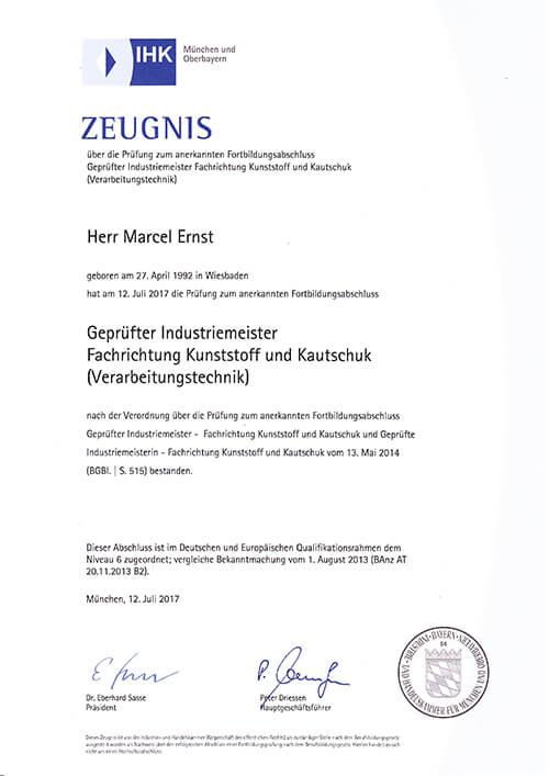 Meisterbrief Marcel Ernst, Fensterbau Ernst GmbH aus Eppstein